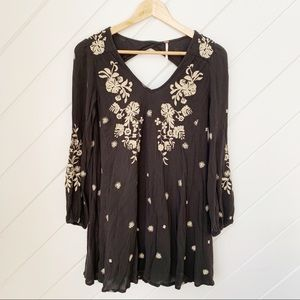 Black embroidered FREE PEOPLE mini dress